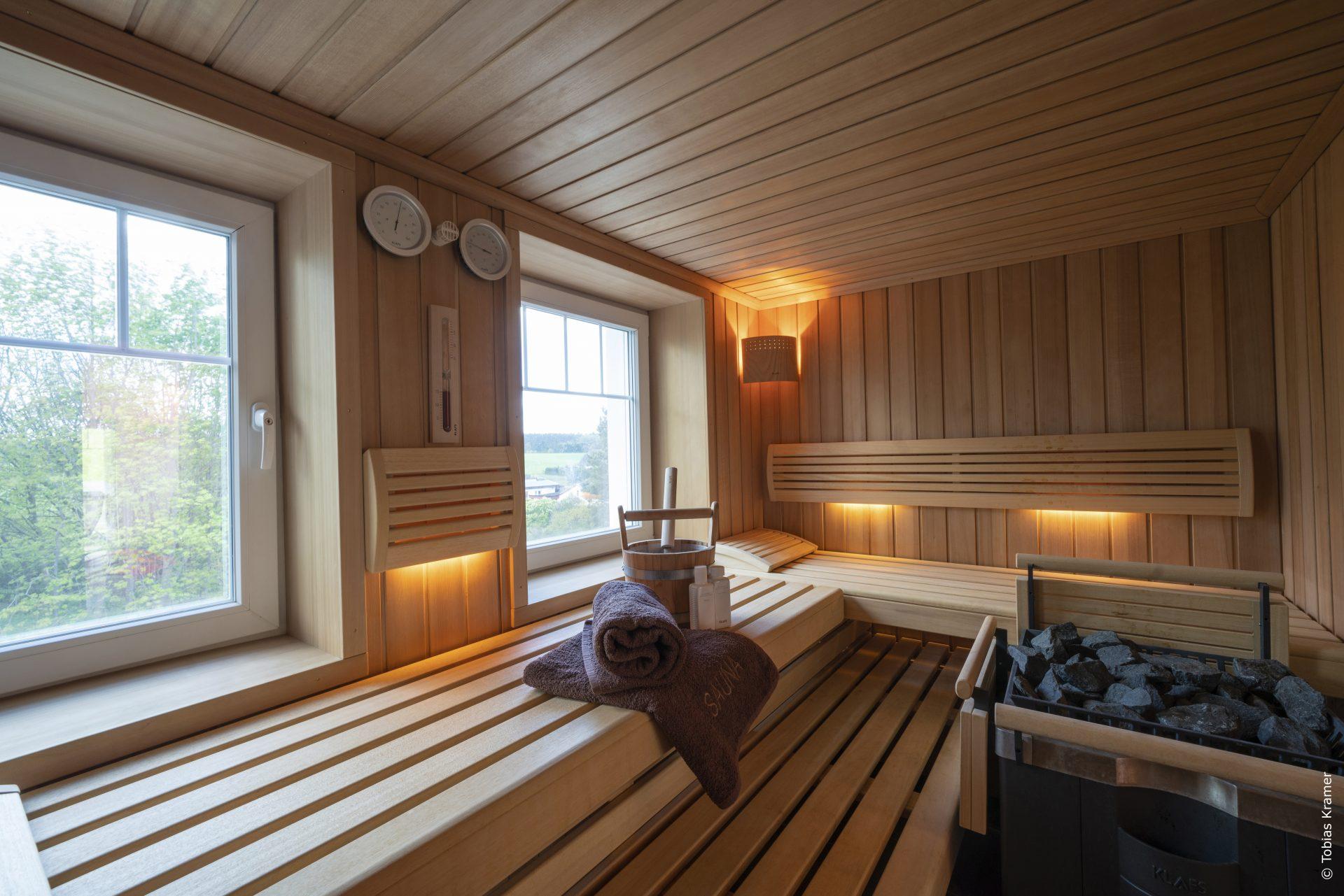 eigene Sauna in den Ferienwohnungen im Erdgeschoss